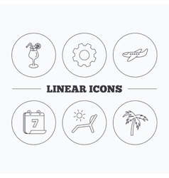 Airplane deck chair and cocktail icons vector