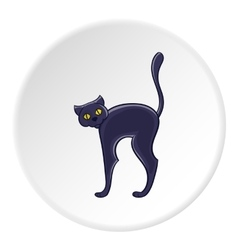 Black cat icon cartoon style vector