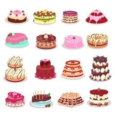 Set of decorated cakes in flat design vector