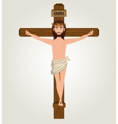 Jesus christ crucified cross desing vector