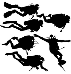 Set black silhouette scuba divers vector