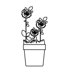 silhouette roses planted with leaves in flowerpot vector image