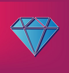 Diamond sign   blue 3d printed vector