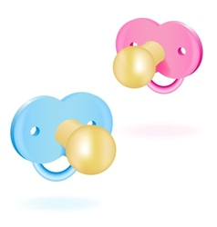 Two babys dummy pink and blue vector