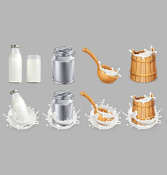 Milk can and splash natural dairy products 3d vector