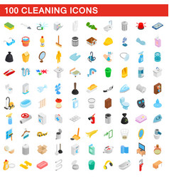 100 cleaning icons set isometric 3d style vector image