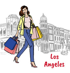 Woman with shopping bags on rodeo drive vector