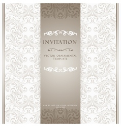 Light beige ornamental invitation card vector