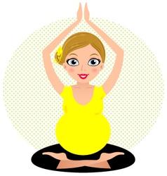 Yellow yoga girl isolated on circle background vector image