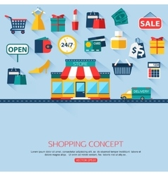 Shopping concept background with place for text vector