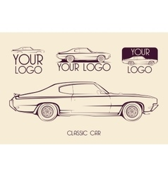 American classic sports car silhouettes logo vector