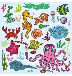 Cartoon Funny Fish Sea Life backgroundColored vector image