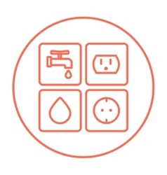 Utilities signs electricity and water line icon vector