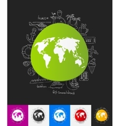 Map paper sticker with hand drawn elements vector