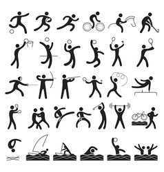 Sports athletes symbol set vector
