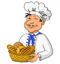 baker with bread basket vector image vector image