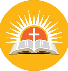 Bible sunset and cross church logo concept icon in vector