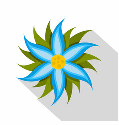 Blue flower icon flat style vector