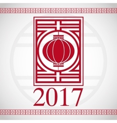 Chinese new year 2017 red lantern greeting vector