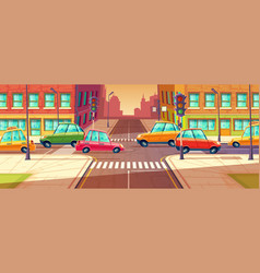 city crossroads traffic jam transport moving vector image