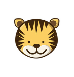 Colorful picture face cute tiger animal vector