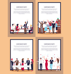 Corporate party set of posters vector
