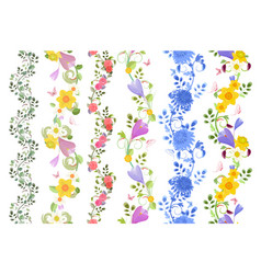 Fancy floral set of seamless borders with roses vector