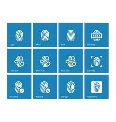 Fingerprint and thumbprint icons on blue vector