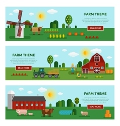 Flat Farm Vegetables Banner Set vector image