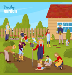 gardening and family vector image vector image