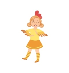 Girl wearing chicken animal costume vector