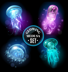Glowing jellyfish medusa set poster vector