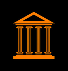 Historical building orange icon on vector
