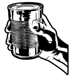 Holding a tin can vector