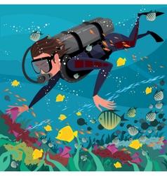 Man studying marine life vector