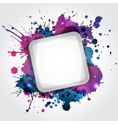 Modern white frame with blue blots vector