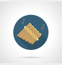 pan flute music flat round icon vector image vector image