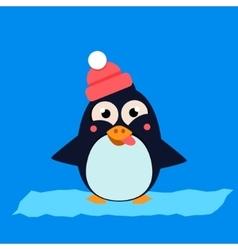 Penguin wearing hat grimacing on ice vector