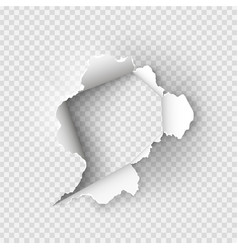 Ragged hole torn in ripped paper vector
