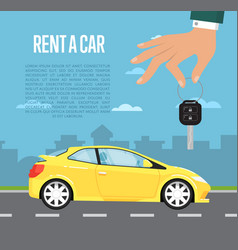 Rent a car concept with hand holding auto key vector
