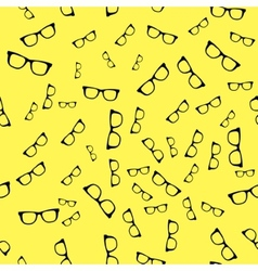 Seamless sunglass pattern on yellow background vector image vector image