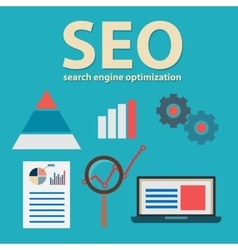 Search engine flat with magnifying vector image vector image