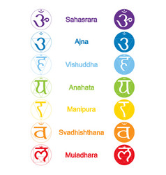 Set of color icons with names of chakras vector