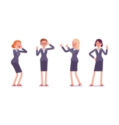 Set of four business female characters vector