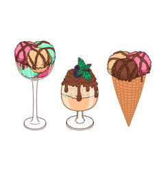 Set of hand drawn ice cream with waffle cone cup vector