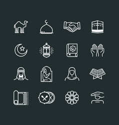Set of ramadhan icons vector