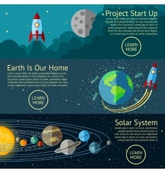 Set of space banners concepts - rocket start up vector