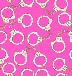 Sketch steel handcuffs in vintage style vector