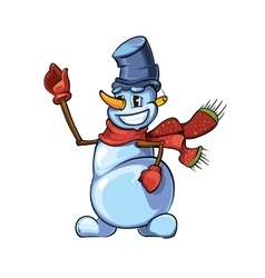 snowman with red scarf pointing to the top vector image