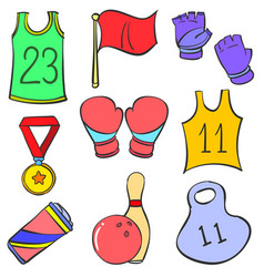 Sport equipment object various doodles vector